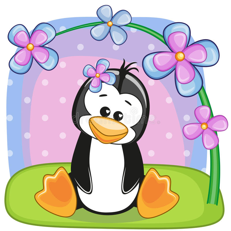 Pingwin z kwiatami royalty ilustracja