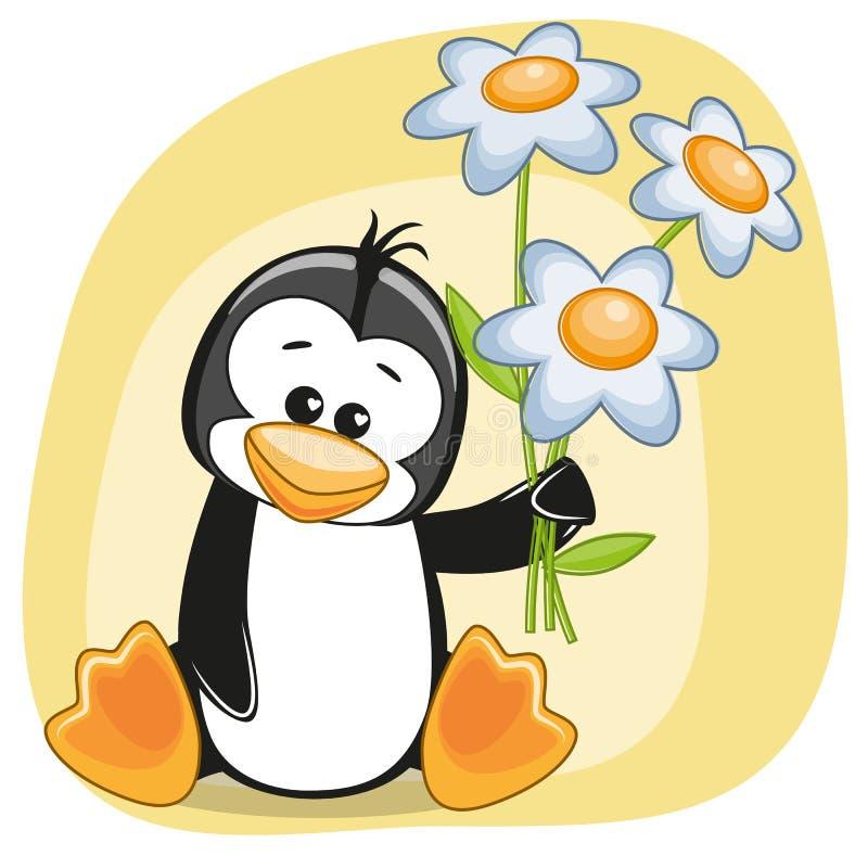 Pingwin z kwiatami ilustracja wektor