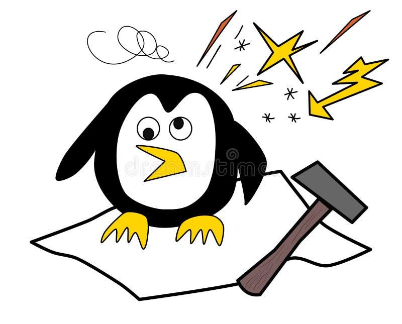 Pingwin z migreny obsiadaniem na lodzie ilustracji