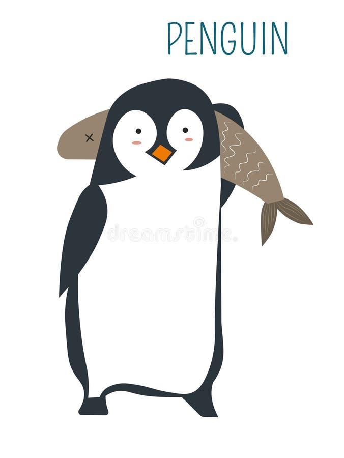 Pingwin z ogromnym rybim dziecięcym książkowym charakterem ilustracji