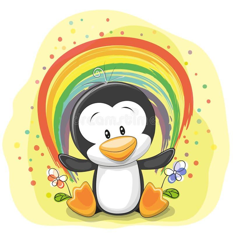 Pingwin z tęczą royalty ilustracja