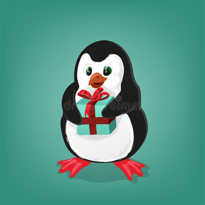 Pingwin z teraźniejszą kartka bożonarodzeniowa wektoru ilustracją ilustracji