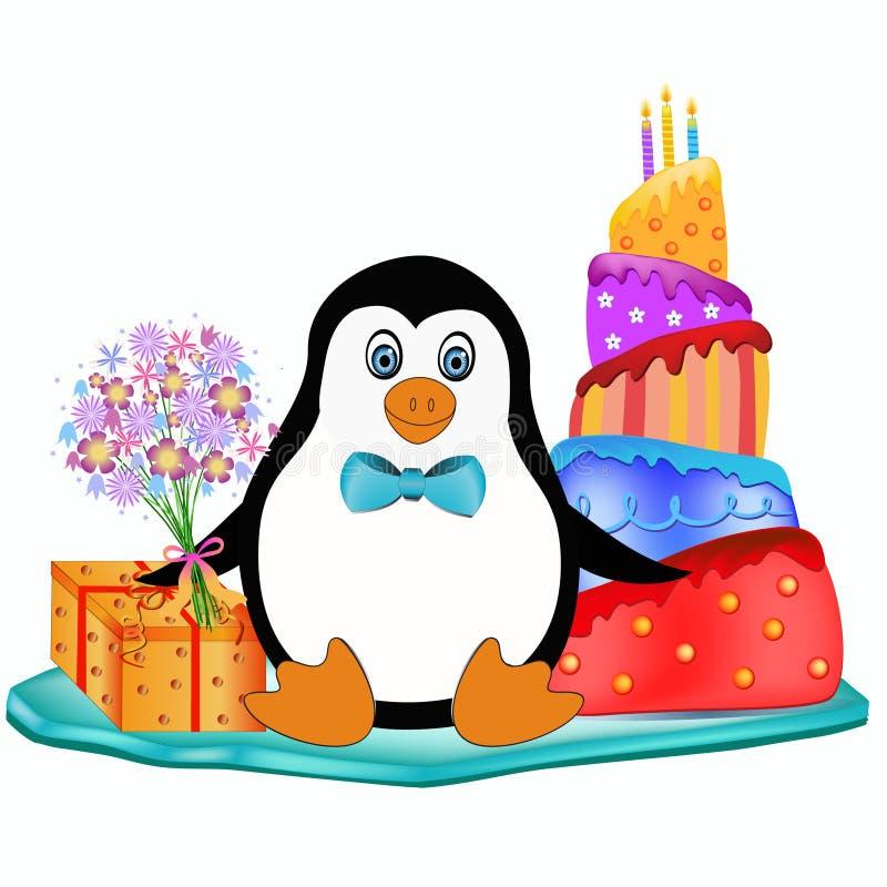 Pingwin z tortem, kwiatami i teraźniejszością, royalty ilustracja