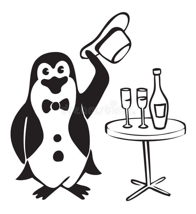 Pingwinu dżentelmen z winem royalty ilustracja