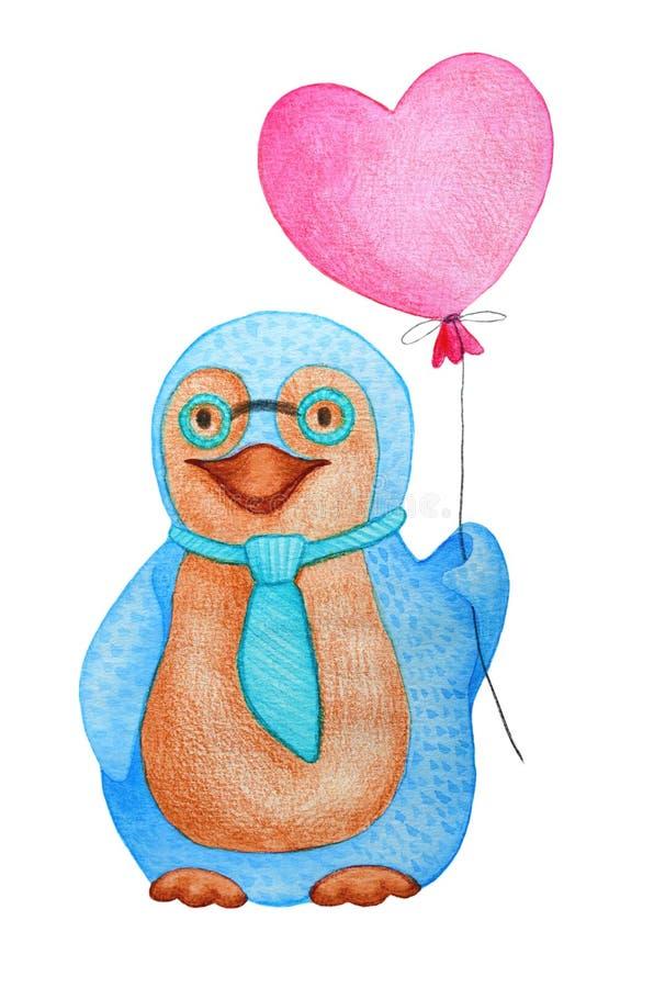Pingwinu kochanek - akwareli ilustracja Balon - czerwony serce ilustracja wektor