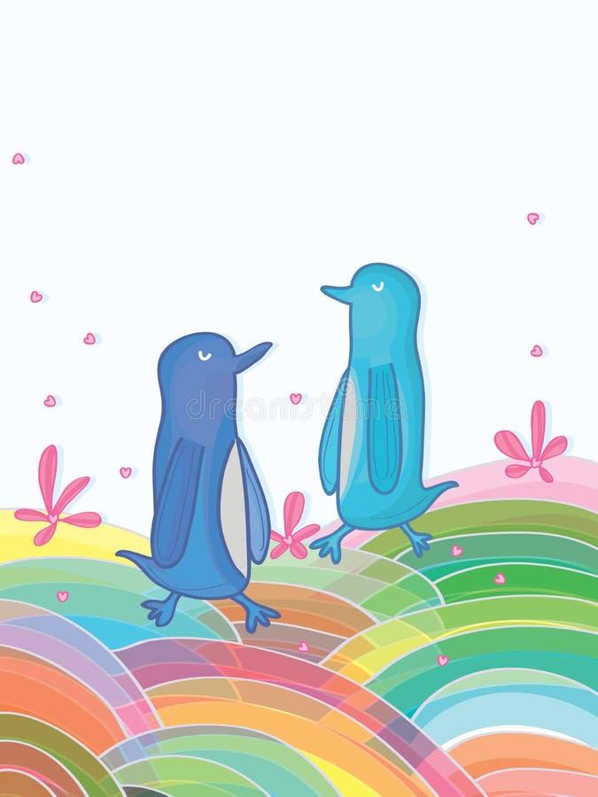 Pingwinu Kolorowy świat royalty ilustracja