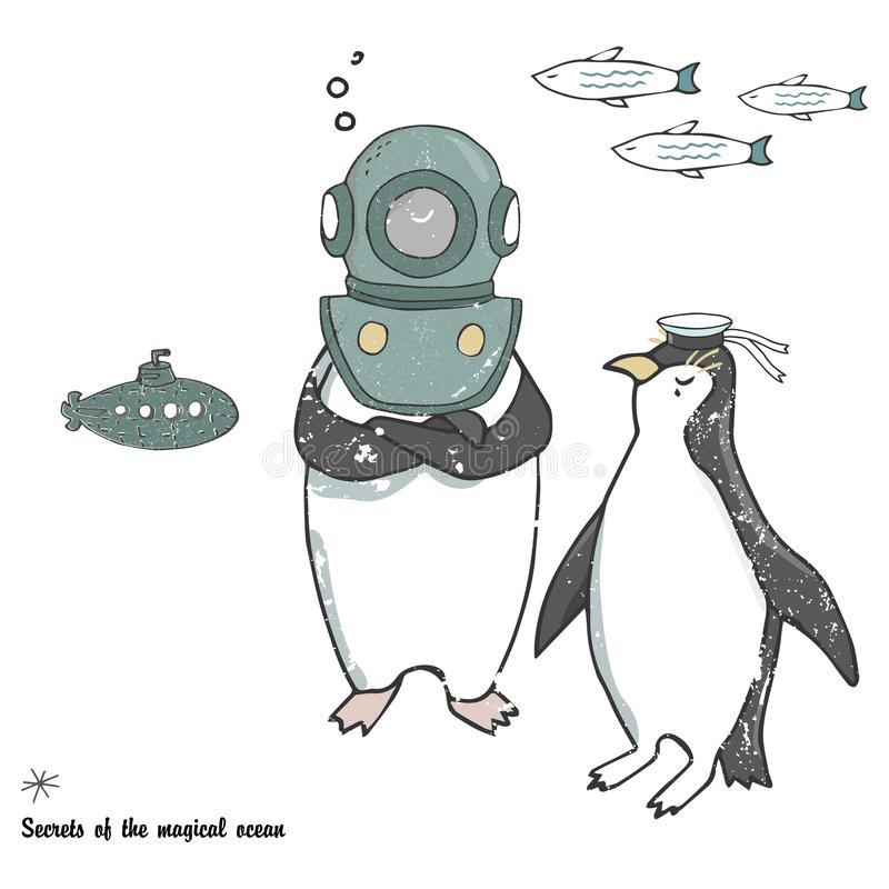 Pingwinu lodowego floe wektorowy świętowanie wita urodzinowej karty zimy szkoły xmas dnia listu trybowych życzliwych wakacje  ilustracji