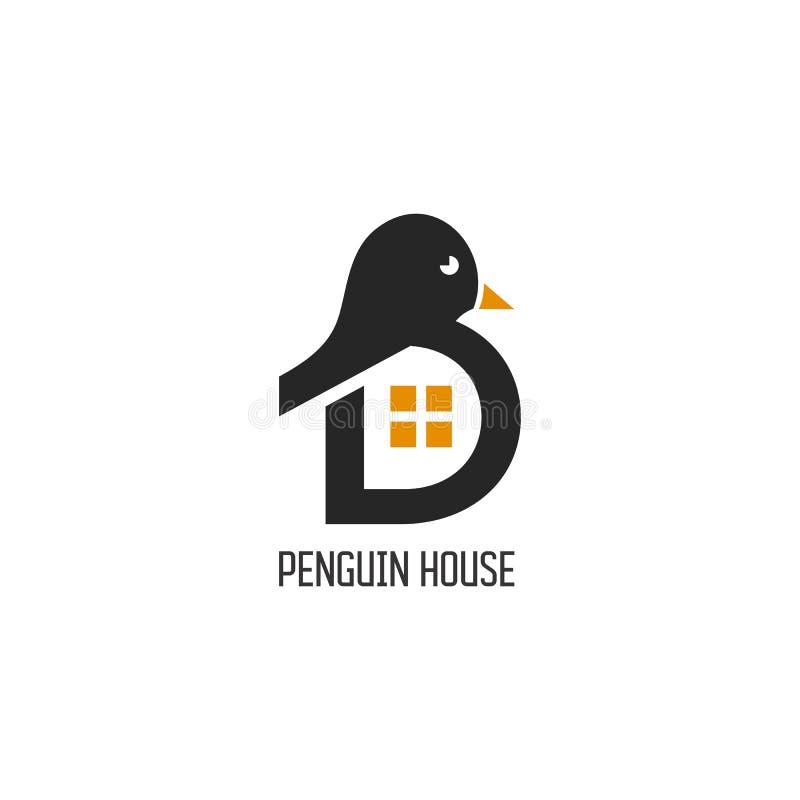 Pingwinu logo projekta Domowy wektor royalty ilustracja