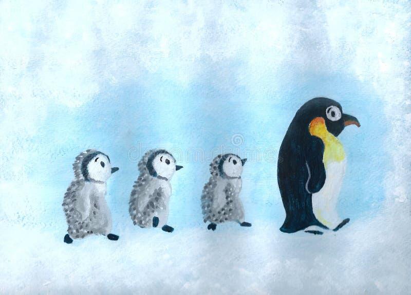 Pingwinu marsz ilustracja wektor