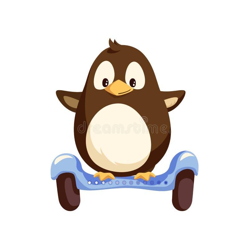 Pingwinu równoważenie na Błękitnym Segway wektorze Odizolowywającym royalty ilustracja