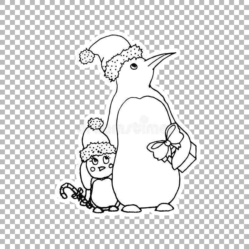 Pingwinu rodzinnego majcheru ozdobna ilustracja ilustracji
