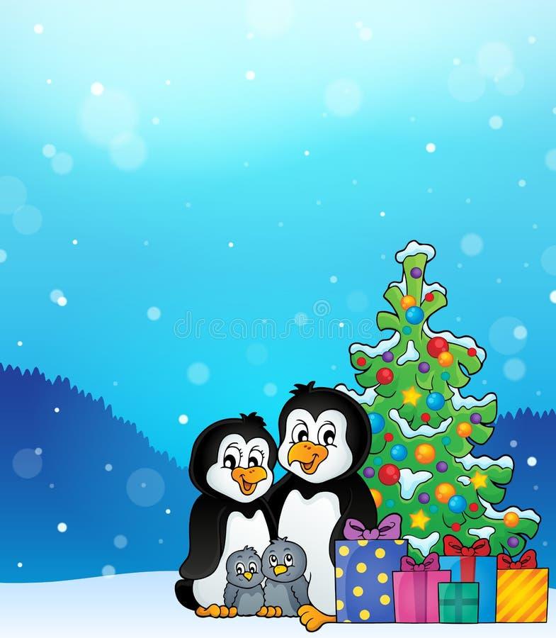Pingwinu rodzinny Bożenarodzeniowy temat 3 ilustracji