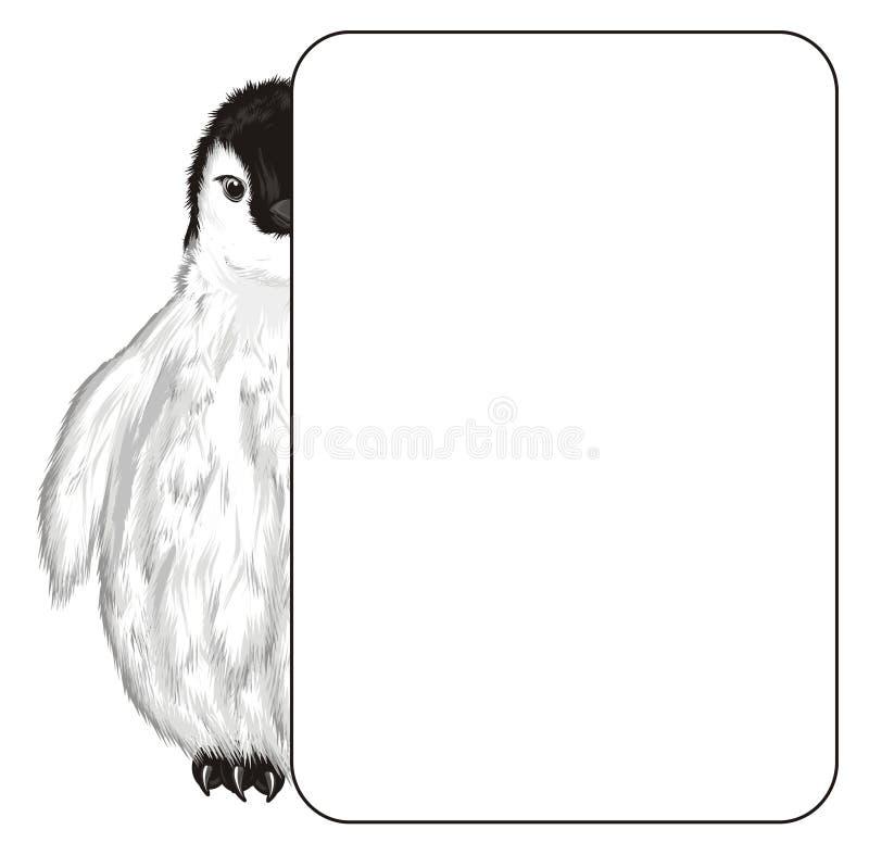 Pingwinu zerknięcie up od sztandaru royalty ilustracja