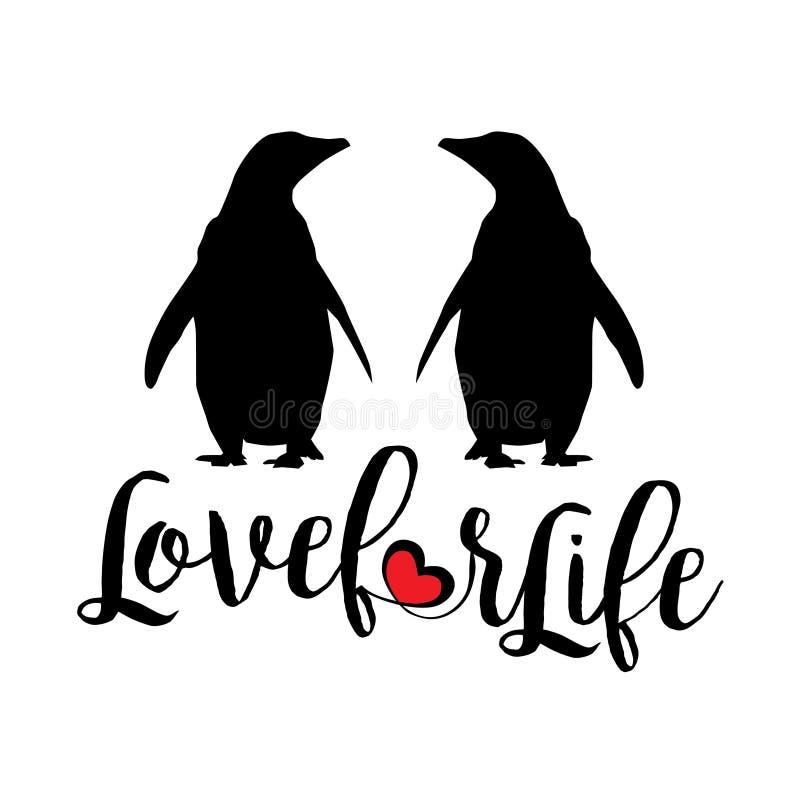 Pingwiny: miłość dla życia royalty ilustracja