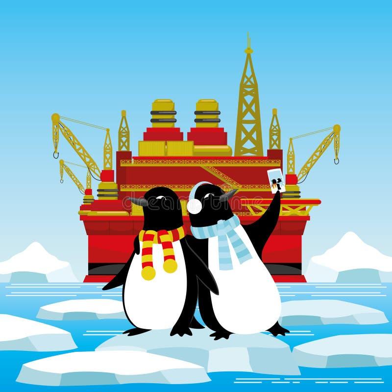 Pingwiny na lodowym floe ilustracja wektor