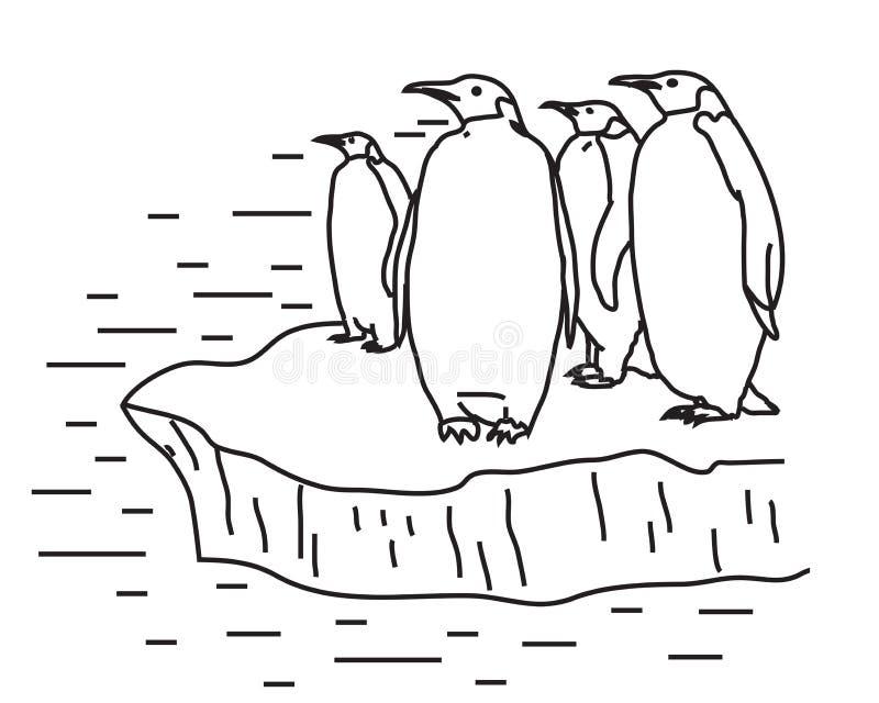 Pingwiny na lodowym floe sylwetka wektor ilustracja wektor