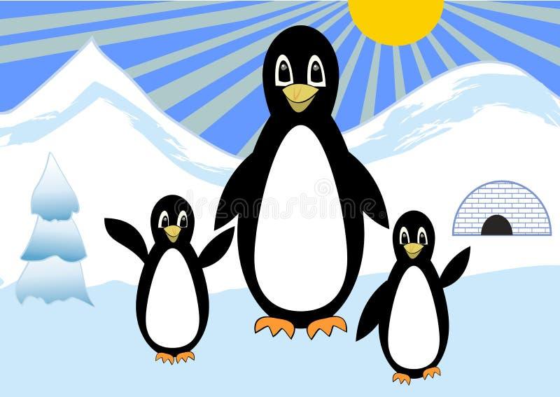 Pingwiny rodzinni na spacerze w śnieżnej biegunowej wsi, penquins bełkoczą z dwa dziećmi śliczna ptasia kreskówka royalty ilustracja