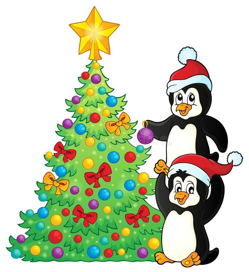 Pingwiny zbliżają choinka temat 2 royalty ilustracja