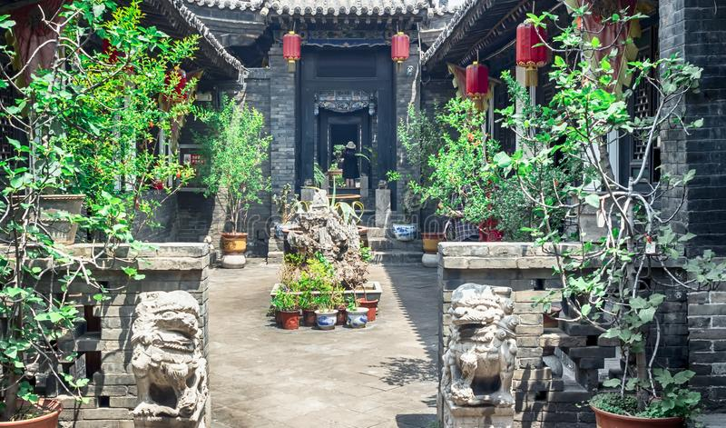 Pingyao Ancient City architecture and ornaments, Shanxi, China.  royalty free stock photo