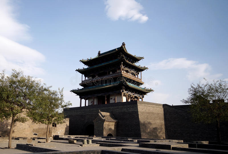 Pingyao ancient city gate house stock image