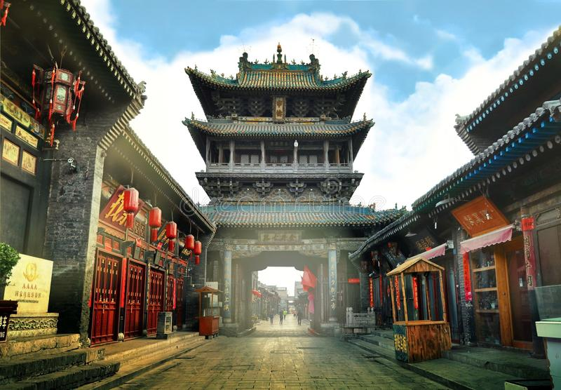 Pingyao, China - May 19, 2017: The decoration of red lampions on the streets of Pingyao Ancient Town China. Pingyao, China - May 19, 2017: The decoration of red stock image