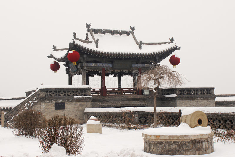 Pingyao forntida stad i vinter royaltyfri foto