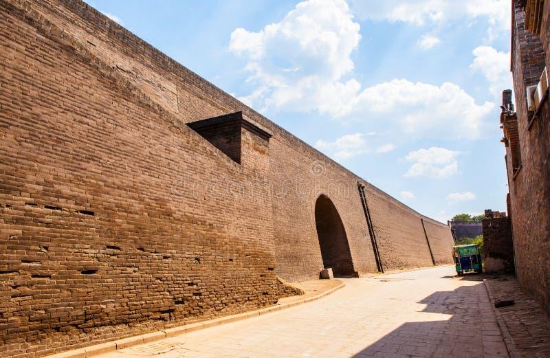 Pingyao scène-stad poort en muur royalty-vrije stock afbeeldingen