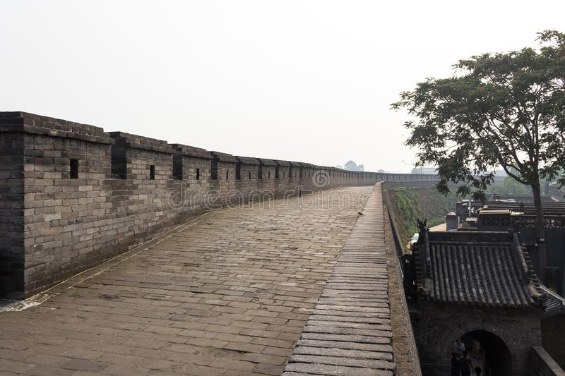 Pingyao, Shanxi province, China: walking on the ancient walls protecting the Old city of Pingyao. The most well preserved of all of China. UNESCO World royalty free stock photos