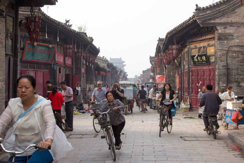 Pingyao stadmarknad, Kina arkivbilder