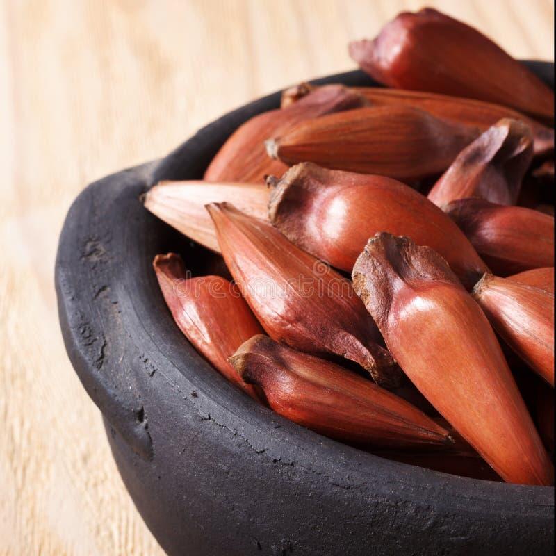Download Pinhao - Brazylijska Sosna Na Drewnianym Stole W Czarnym Garnku Z Kopią S Zdjęcie Stock - Obraz złożonej z owoc, czerń: 53783604