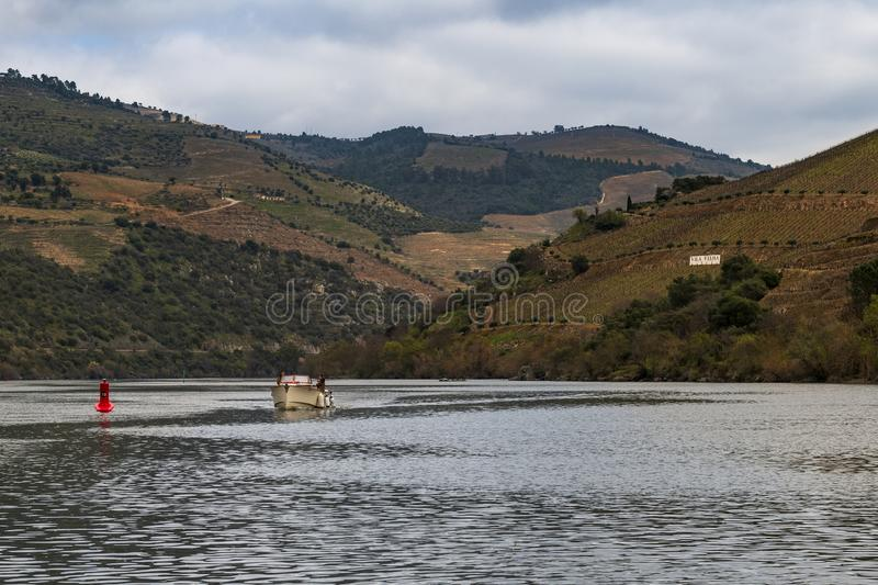 Scenic view of the Douro River and Valley with terraced vineyards, in Portugal royalty free stock image