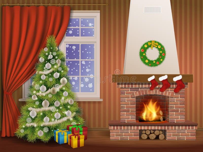 Pinheiro interior da chaminé do Natal ilustração do vetor