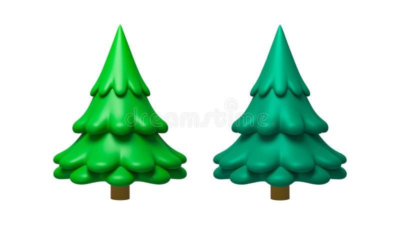 Pinheiros com estilo mínimo isolados sobre fundo branco puro com conceito plasticina de argila Árvores de decoração de natal aleg fotografia de stock royalty free