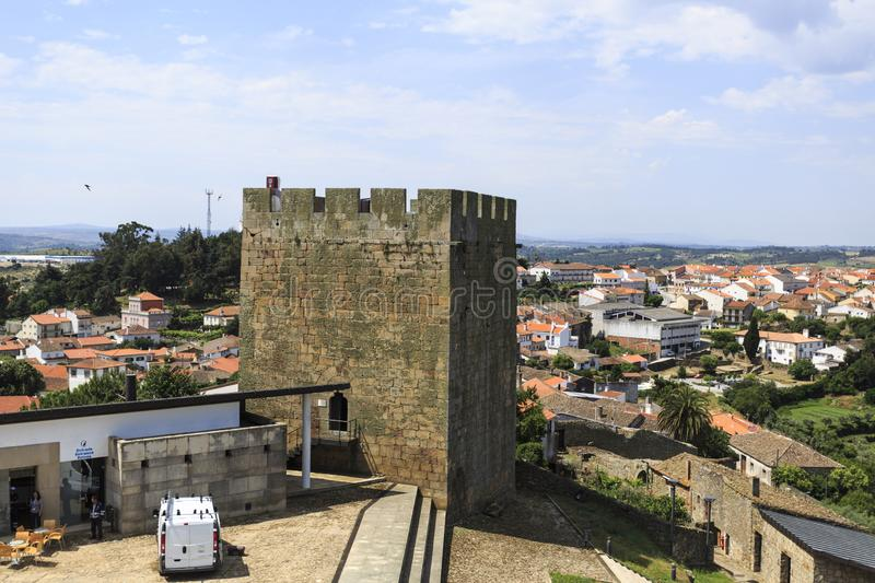 Pinhel – Castle South Tower. View of the south tower, built in the 13th century of military architecture in Romanesque style, having the historic town of royalty free stock photography