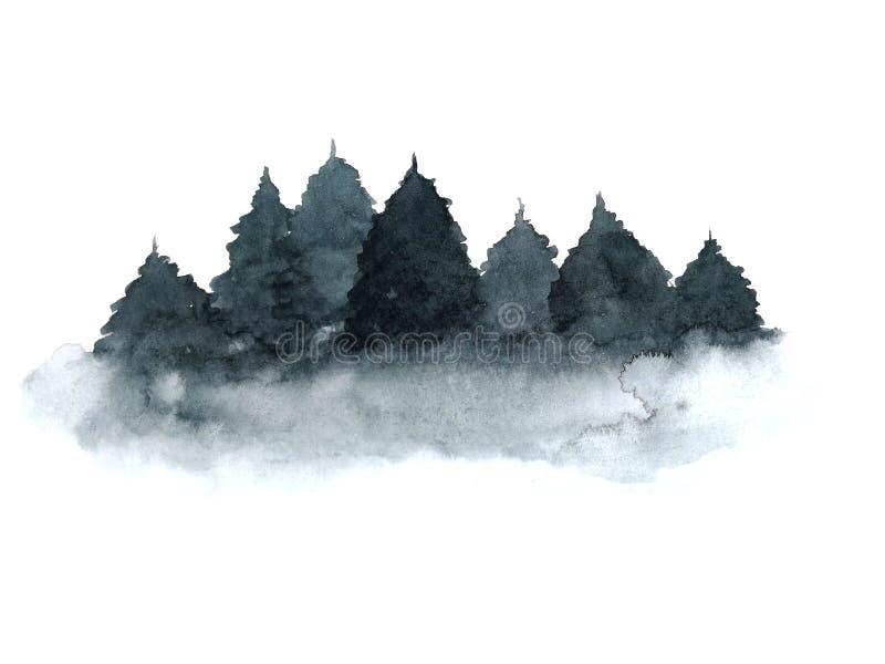 Pinho da ?rvore da paisagem da aquarela isolado no fundo branco ilustração royalty free