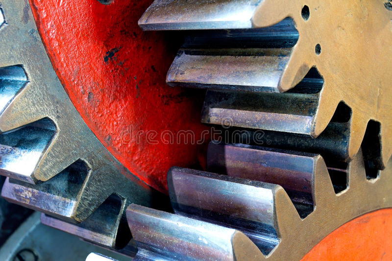 Pinion gear for mechanical machine in factory royalty free stock images