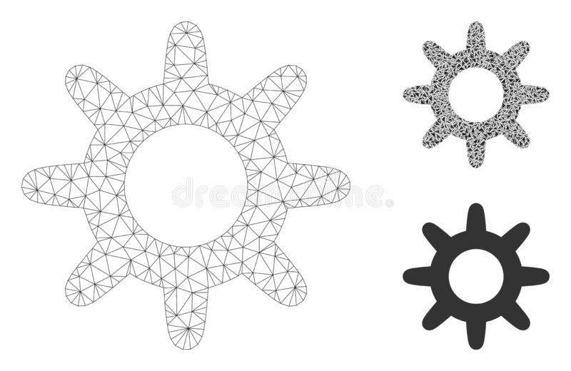 Pinion Vector Mesh Carcass Model and Triangle Mosaic Icon. Mesh pinion model with triangle mosaic icon. Wire carcass polygonal mesh of pinion. Vector mosaic of vector illustration