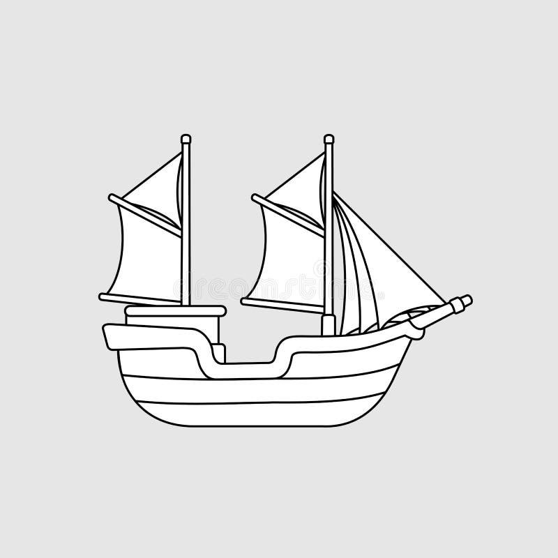 Pinisi indonesiskt traditionellt skepp, svartvit vektorillustration stock illustrationer