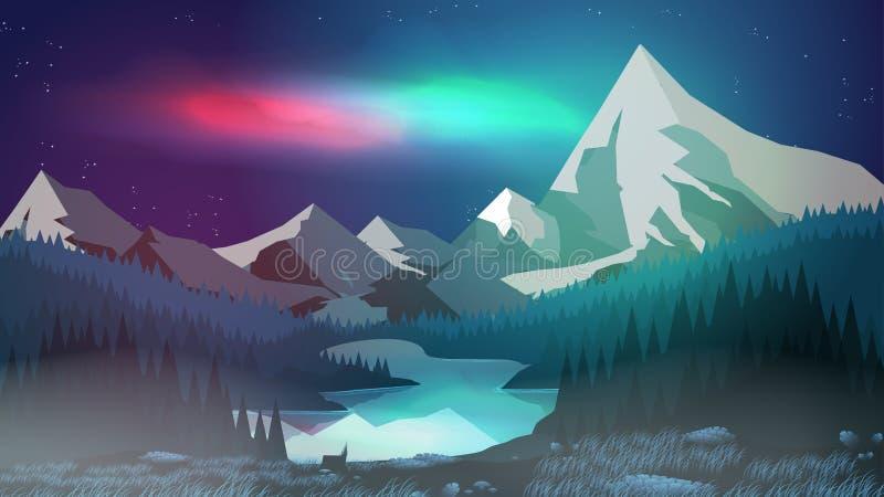 Pinjeskog med berg sjön på natten, morgonrodnad - vektor Illustr royaltyfri illustrationer