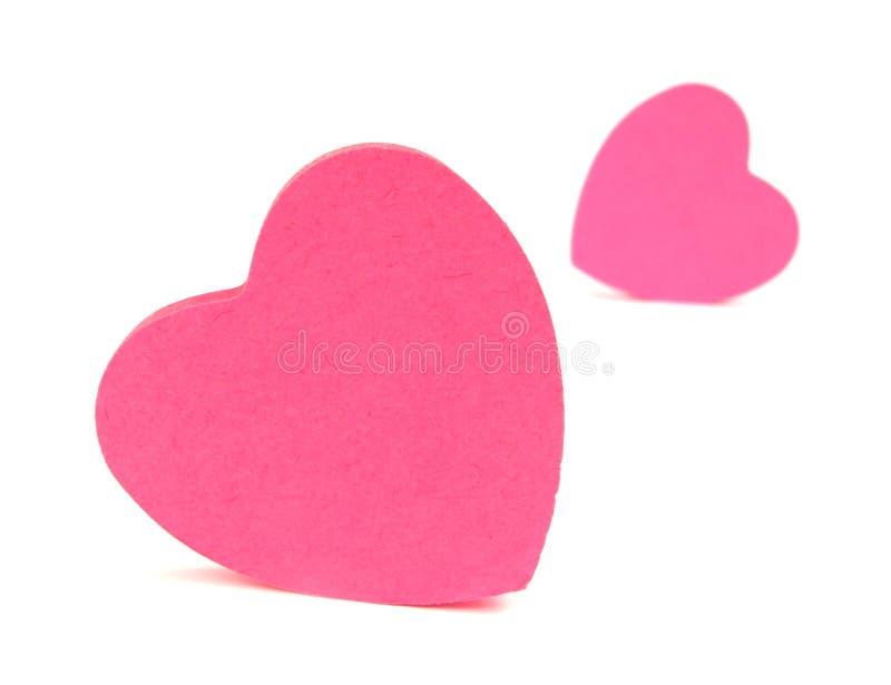 Pink примечания сердец липкие стоковое фото rf