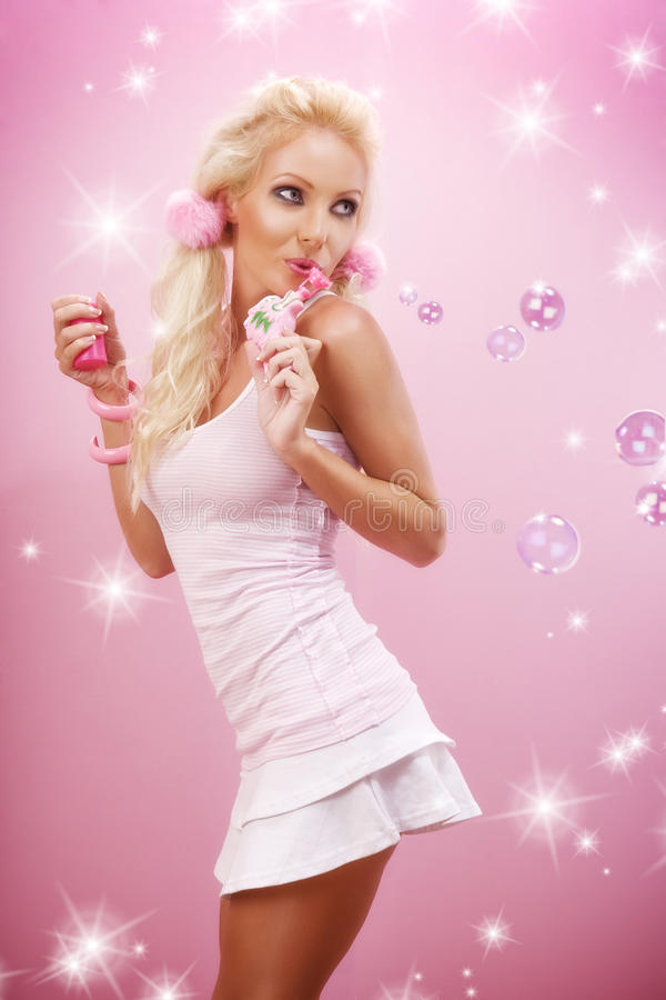 Download In pink stock photo. Image of blond, happiness, attractive - 11251150