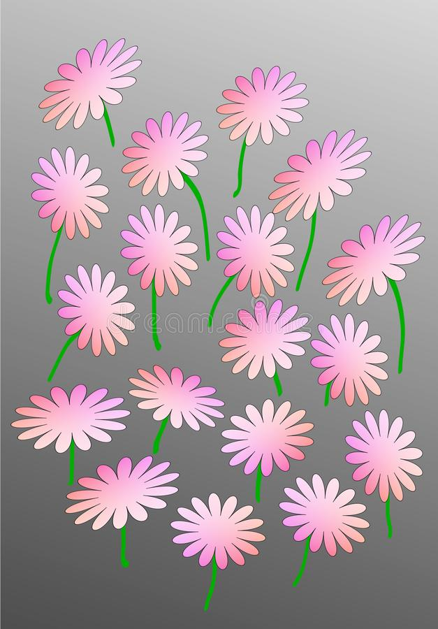 Pink abstract flowers on a gray background royalty free stock photos