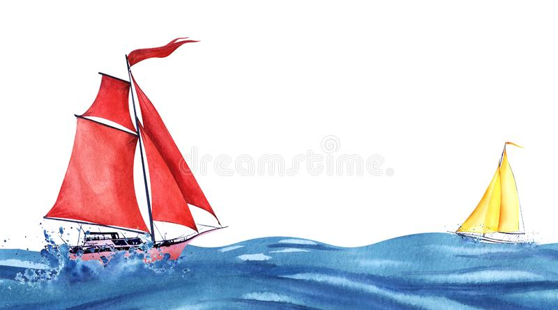 Pink abstract sailing yacht with red sails and red waving flag Small yellow sailboat on blue waves. Boats at sea vector illustration
