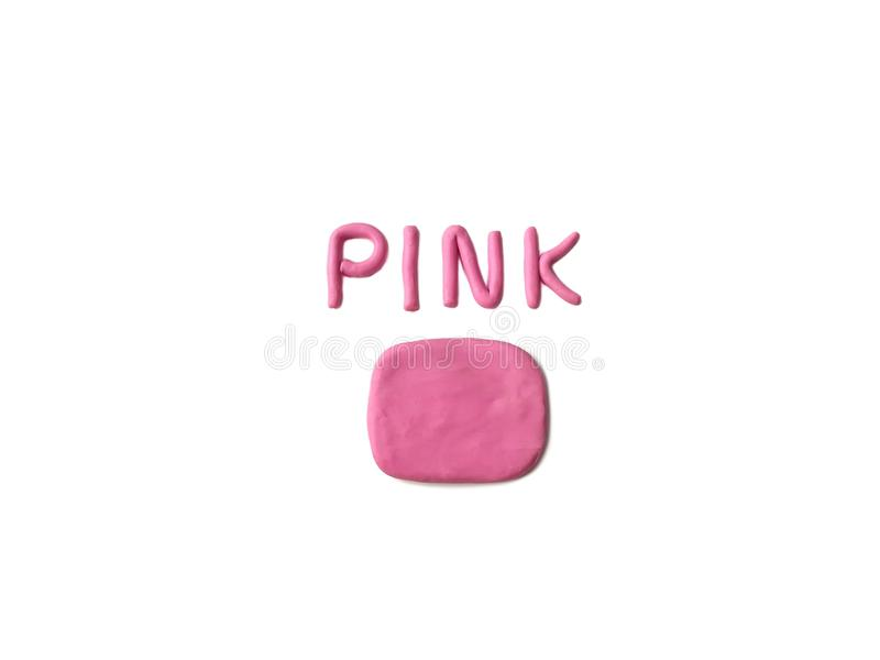 Pink text plasticine clay, abstract shape dough, bubble speech. Pink abstract shape and text color made from plasticine clay on white background, Speech bubble stock photo