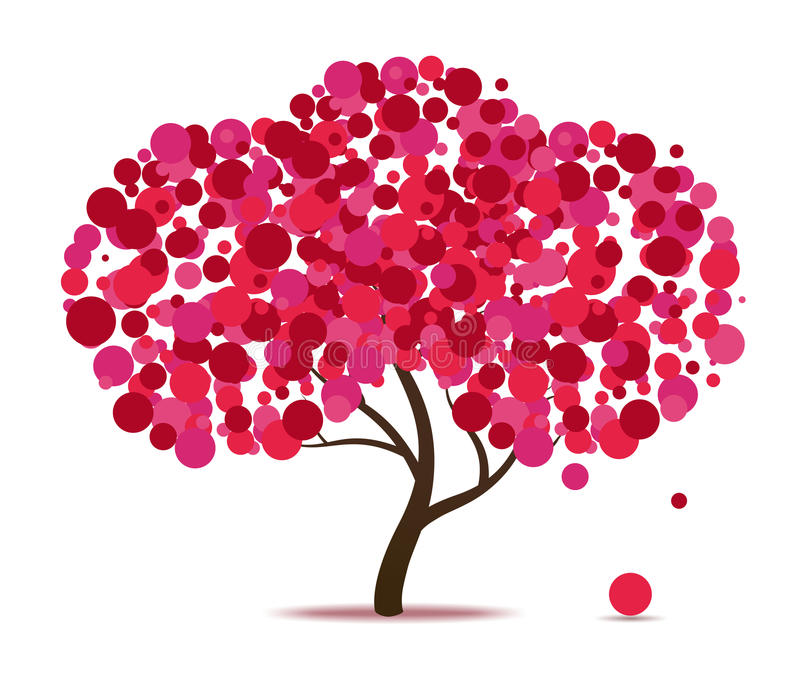 Pink abstract tree vector illustration