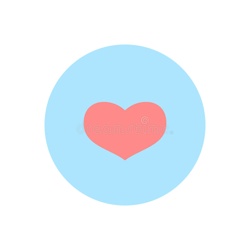 Pink abstract Valentine`s heart sign, blank button template and blue background for internet sites, web user interfaces ui and a royalty free illustration
