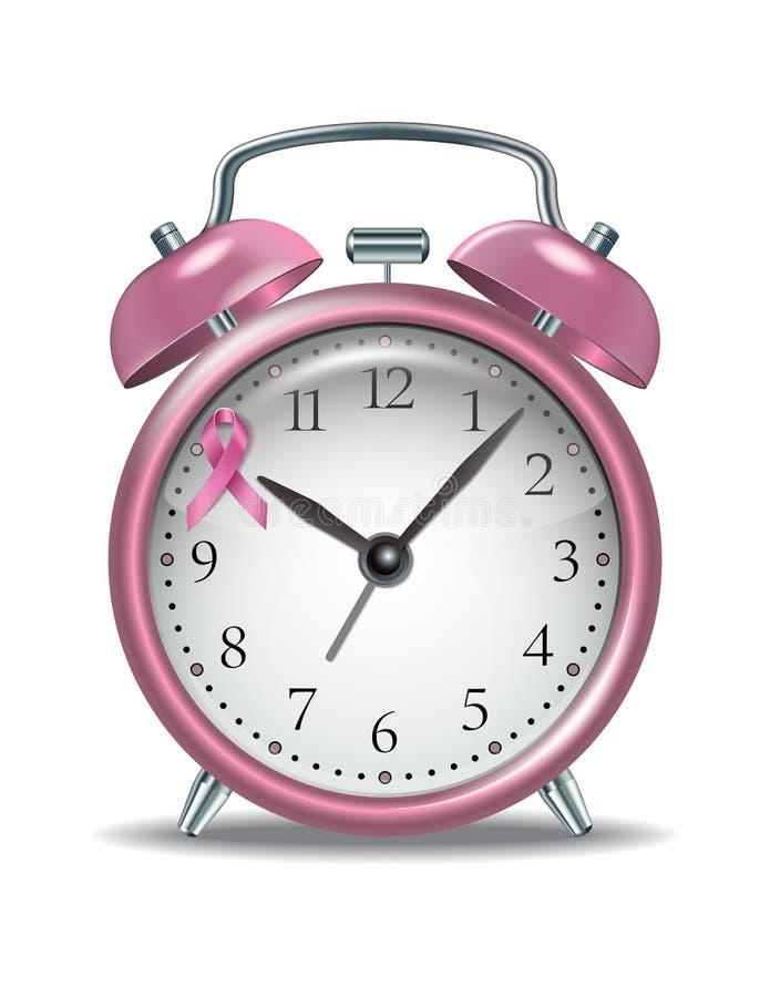 Pink alarm clock with pink ribbon stock illustration