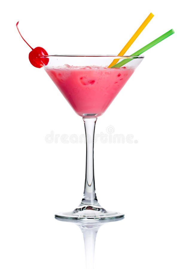 Pink alcohol cocktail in martini glass isolated royalty free stock photos