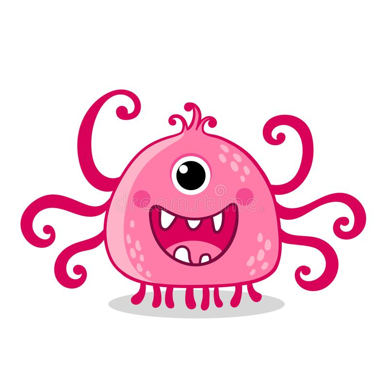 Pink alien with one eye is smiling on a white background vector illustration