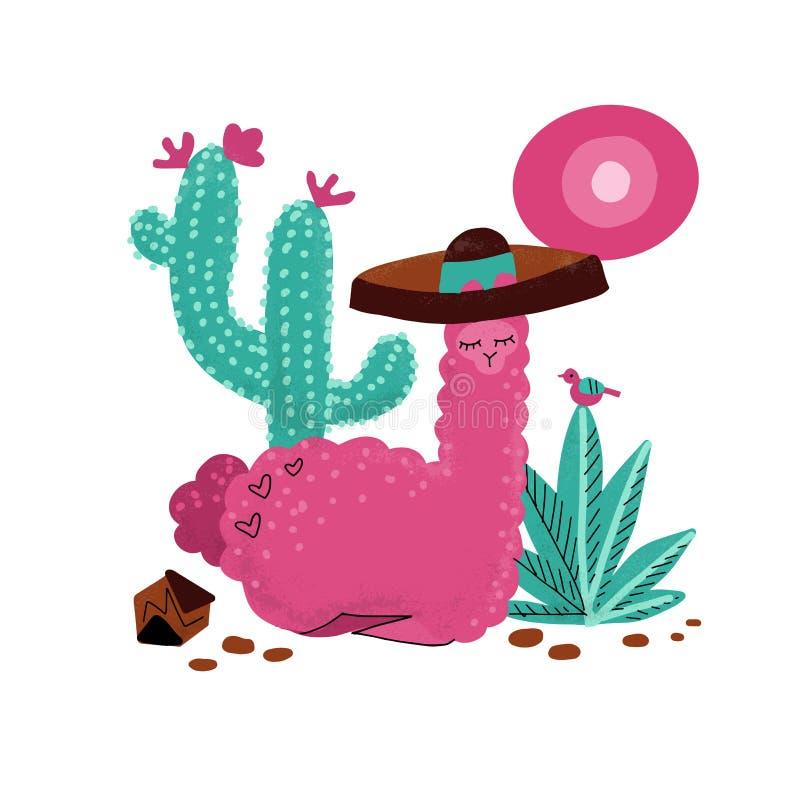 Pink alpaca kid hand drawn vector illustration. Llama or alpaca print clipart design for nursery design, poster, birthday greeting vector illustration